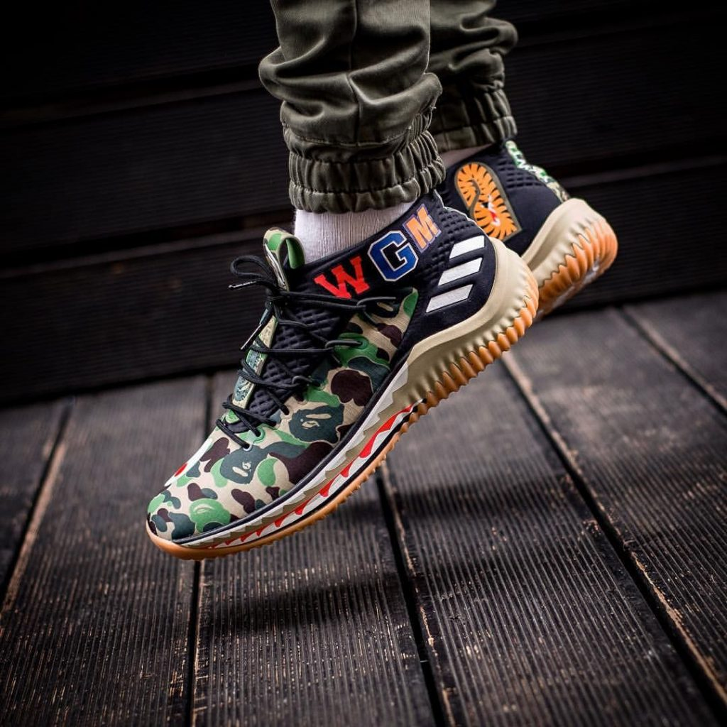 Adidas Dame 4 Bape Green Camo Pantone Running White Core Black on wgm bape shoes adidas